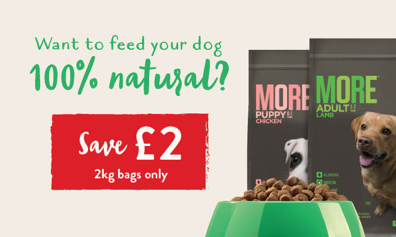 Want to feed your dog 100% natural? MORE Dog 2kg - £2 off