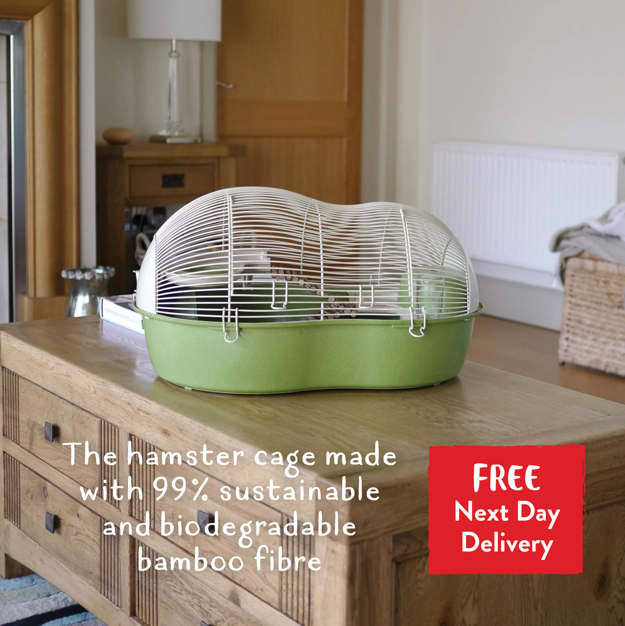 The hamster cage made with 99% sustainable and biodegradable bamboo fibre