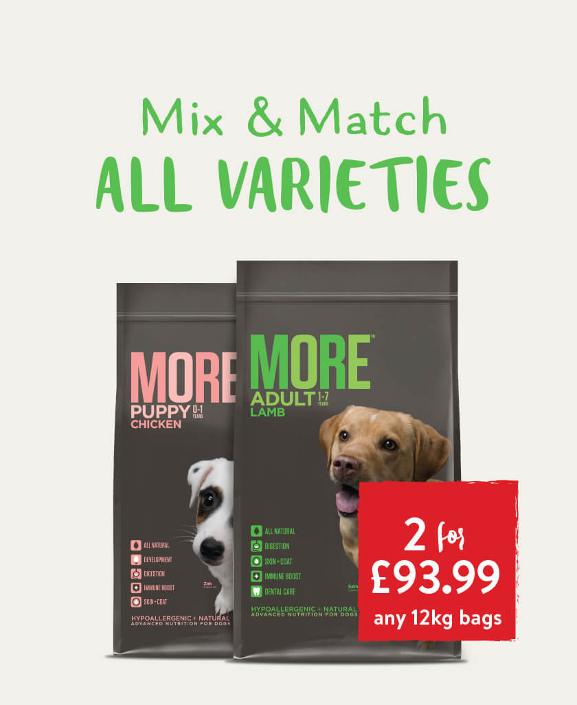 Mix & match 2 for £93.99 on all 12kg MORE Dog Food