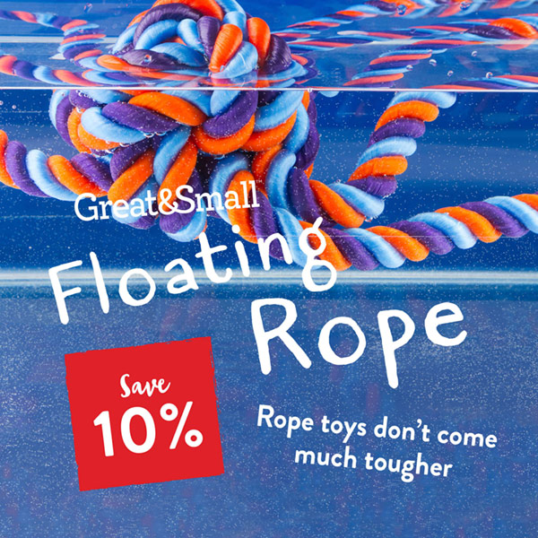 Save 10% on the Great&Small Floating Rope dog toys.