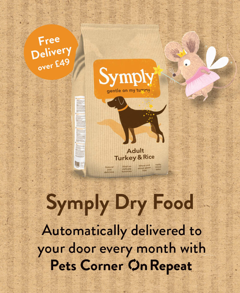 Symply dog food automatically delivered every month free with Pets Corner On Repeat.
