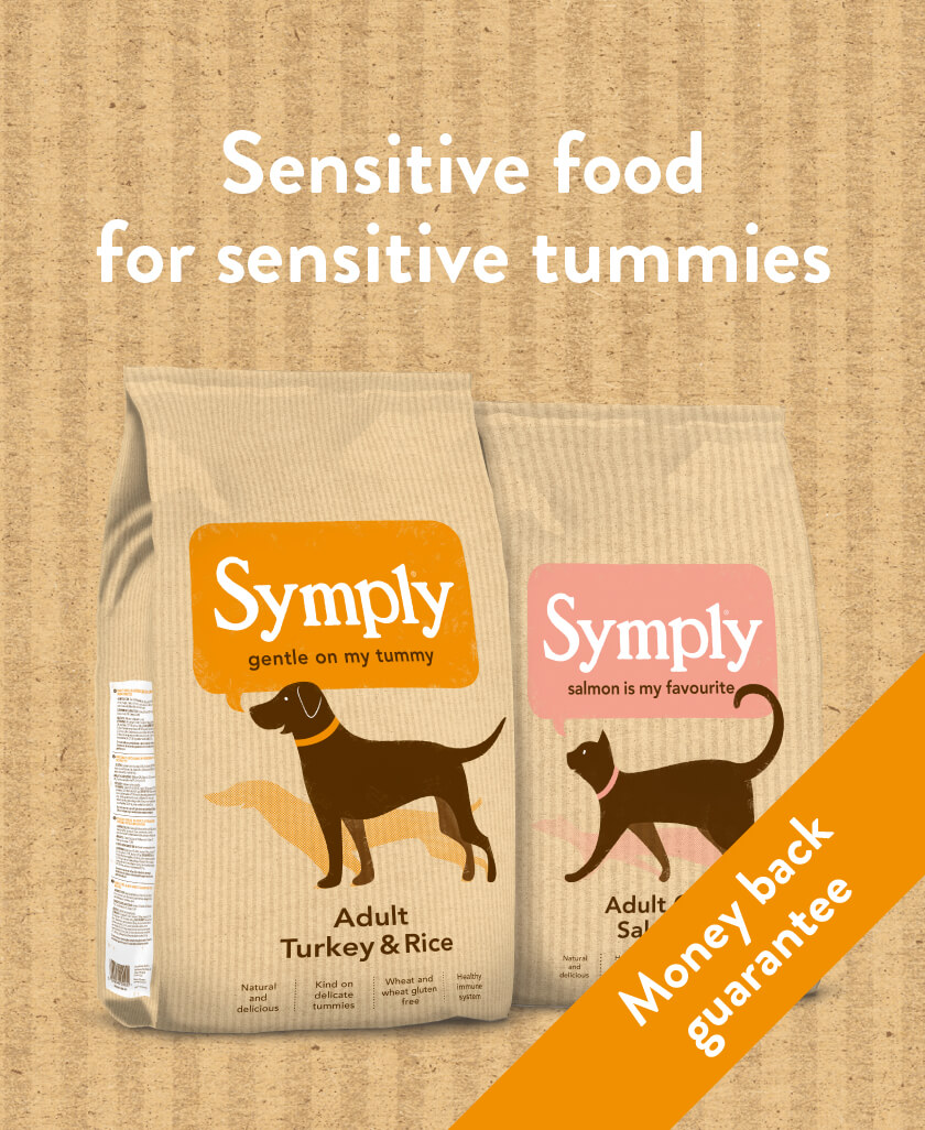 Symply. Sensitive food for sensitive tummies. Money back guarantee