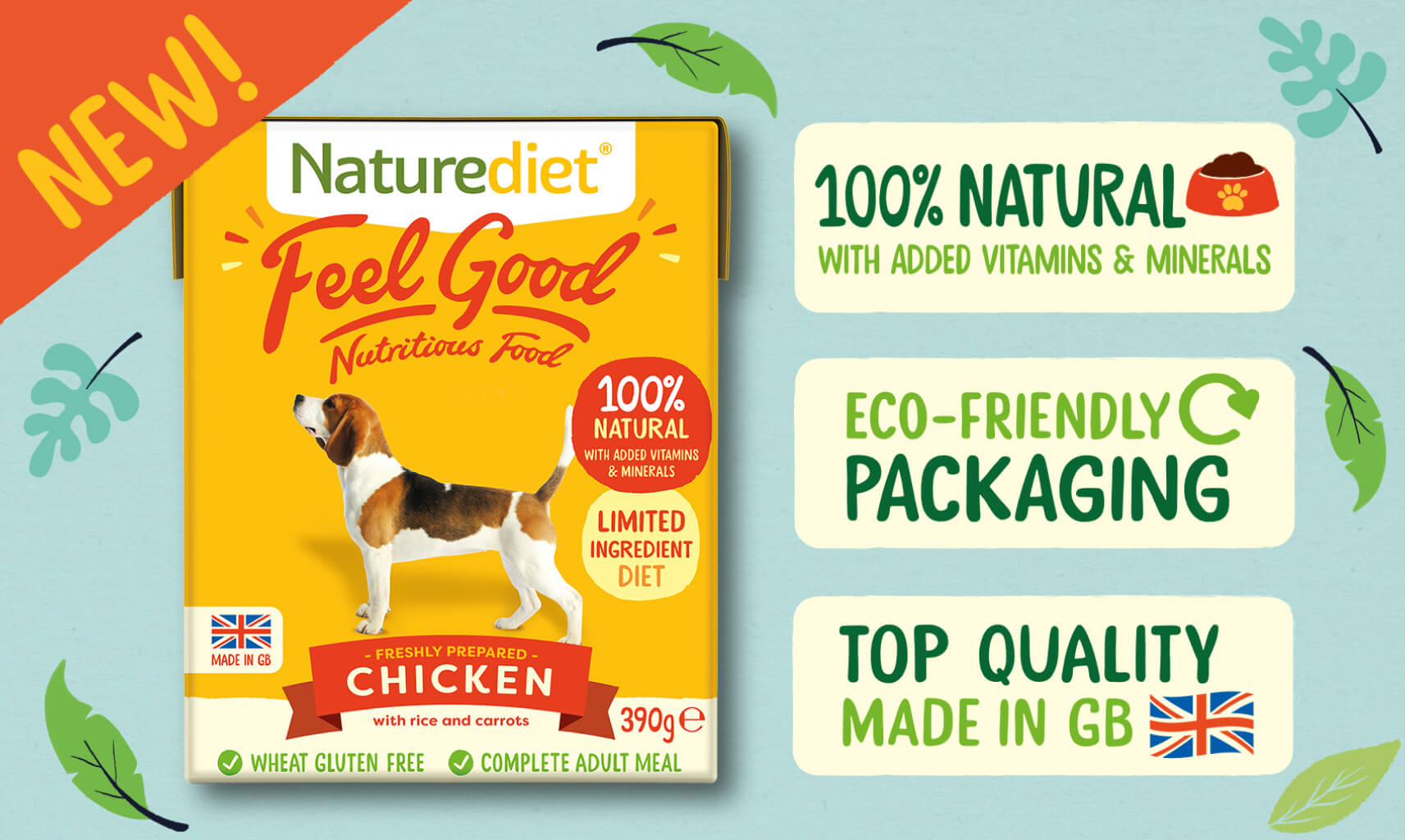 NEW Naturediet Feel Good Nutritious Food. 100% Natural. Eco Friendly. Made in GB.