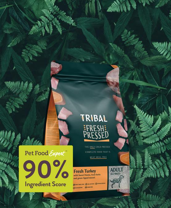 Tribal. The only cold pressed dog foods made without meat meal
