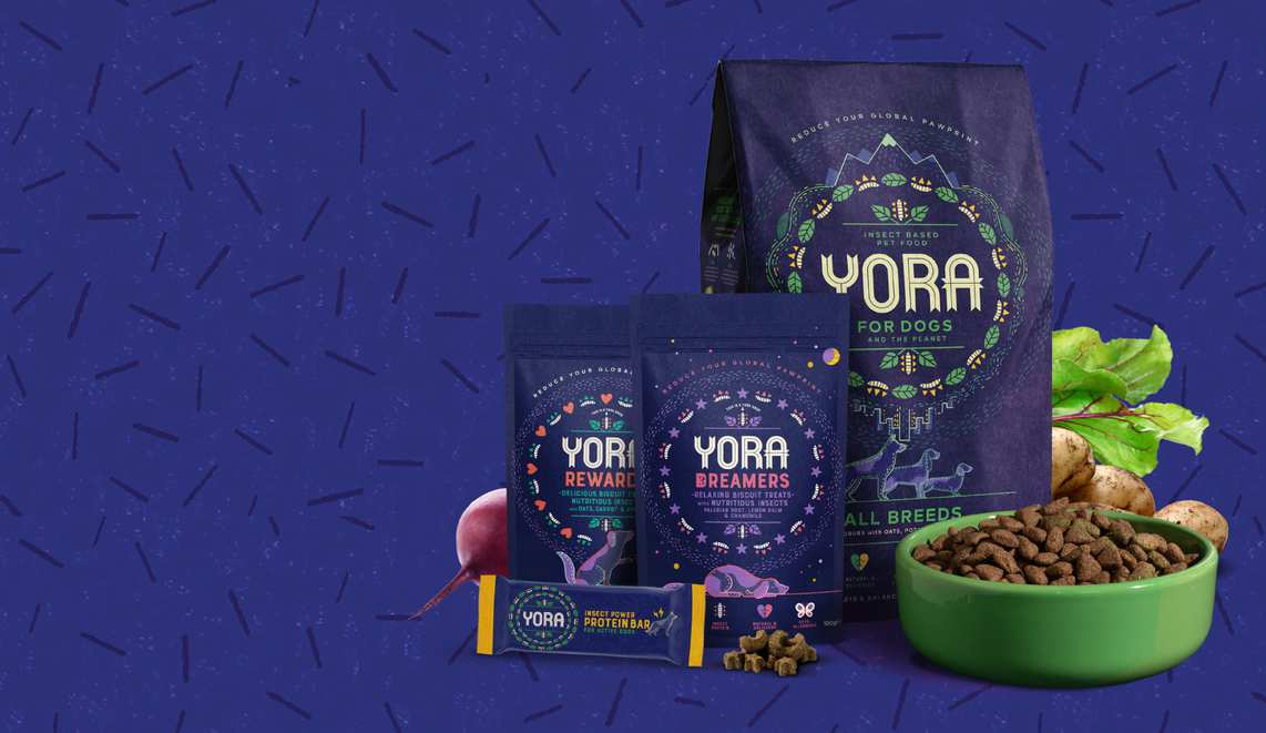 Yora. The world's most sustainable dog food. Yora uses the whole grubs that are packed with all the nutrition that your dog needs