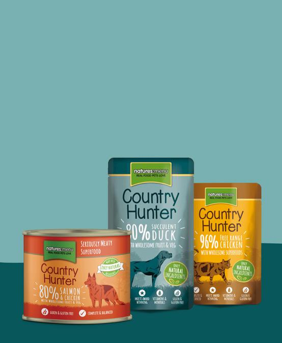Country Hunter. The ultimate choice in real and natural pet food. Save 20%