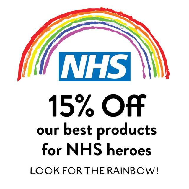15% off our best products for NHS heroes. Look for the rainbow!